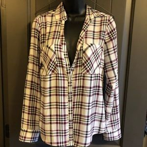 Express Long Sleeve Plaid Soft Silky Button Up